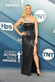 Reese Witherspoon looked party-ready in a shimmering one-shoulder column dress by Celine at the 2020 SAG Awards.