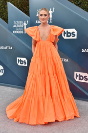 Kathryn Newton was a standout in a voluminous orange empire gown by Valentino at the 2020 SAG Awards.
