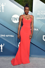 Danai Gurira ravished in a low-cut red gown by Mugler at the 2020 SAG Awards.