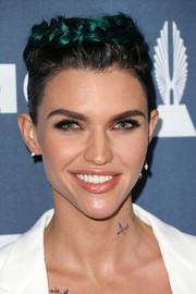 Ruby Rose sported a green-tinged crown braid at the GLAAD Media Awards