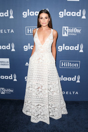 Lea Michele was equal parts sweet and seductive in a plunging white lace gown by Elie Saab at the GLAAD Media Awards.