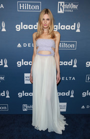 Andreja Pejic was trendy and glam in a two-tone strapless cutout gown at the GLAAD Media Awards.
