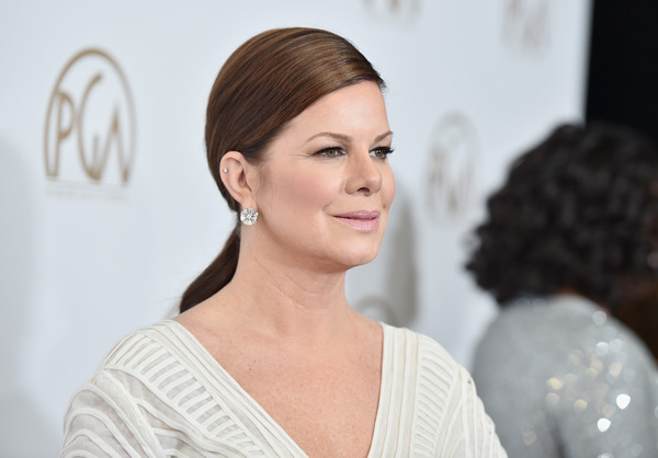 Marcia Gay Harden attended the Producers Guild of America Awards wearing her hair in a sleek, low ponytail.