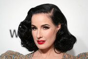Dita Von Teese was vintage-glam with her short curls at the 2020 Elton John AIDS Foundation Oscar-viewing party.