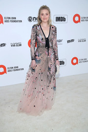Amanda Michalka charmed in an embroidered blush gown by Elie Saab at the 2020 Elton John AIDS Foundation Oscar-viewing party.