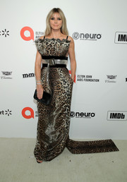 Heidi Klum hit the 2020 Elton John AIDS Foundation Oscar-viewing party wearing a leopard-print gown by Jean Paul Gaultier Couture.