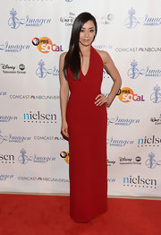 A rich crimson gown gave Aimee Garcia a classic and sophisticated red carpet look at the 2013 Imagen Awards.