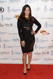 Natalie chose along-sleeve LBD with sheer panel insert for her look at the 2013 Imagen Awards.