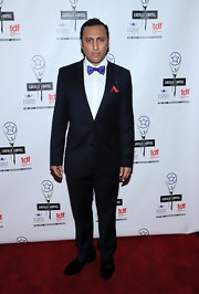 Aasif Mandvi looked red carpet-ready in an elegant black tux and a blue bowtie at the Lucille Lortel Awards.