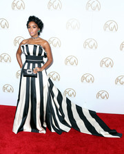 Janelle Monae looked striking in a boldly striped strapless gown by Carolina Herrera at the Producers Guild Awards.