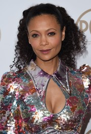 Thandie Newton's pink eyeshadow was a perfect match to her sequin dress!