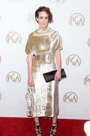 Sarah Paulson styled her frock with strappy black heels by Pierre Hardy.