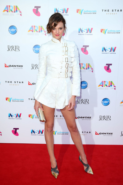 Montana Cox rocked a white Zimmermann romper with multi-buckle detailing at the ARIA Awards.