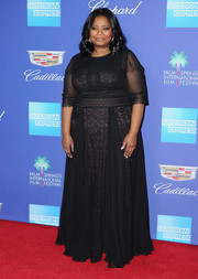 Octavia Spencer was regal on the red carpet in a black lace and chiffon gown by Tadashi Shoji at the Palm Springs International Film Festival Awards Gala.