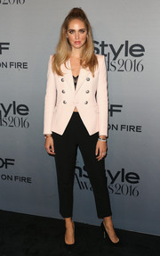 Chiara Ferragni was office-chic in a pale-pink blazer by Balmain at the InStyle Awards.