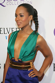 Kerry Washington paired her jewel tone Gucci ensemble with a sleek braid.