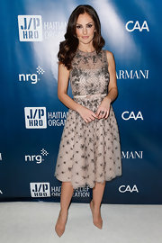 Minka Kelly looked like a modern day princess in this short pale pink embroidered dress with a bowed waist.