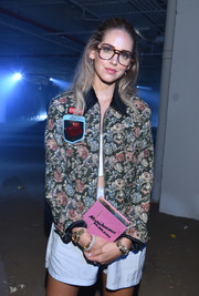 Chiara Ferragni carried a cute 'Marihuana Problems' embroidered canvas clutch by Olympia Le-Tan at the 3.1 Phillip Lim fashion show.
