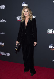 Ellen Pompeo kept it understated yet chic in a black velvet jumpsuit at the 'Grey's Anatomy' 300th episode celebration.