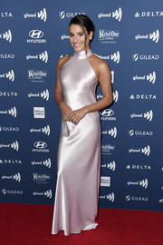Lea Michele looked alluring in a pale pink halter gown by Galvan at the 2019 GLAAD Media Awards.