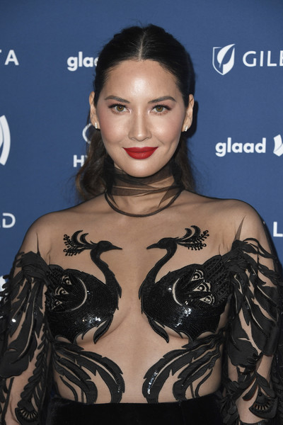 More Pics of Olivia Munn Embroidered Dress (1 of 7) - Olivia Munn Lookbook - StyleBistro [hair,hairstyle,eyebrow,black hair,lip,eyelash,shoulder,fashion,tattoo,dress,arrivals,olivia munn,glaad media awards,the beverly hilton hotel,beverly hills,california]