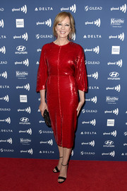 Allison Janney looked elegant in a red sequined dress by Sally LaPointe at the 2019 GLAAD Media Awards.
