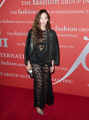 Kelly Wearstler toned down her see-through dress with a black leather biker jacket when she attended the Annual Night of Stars.
