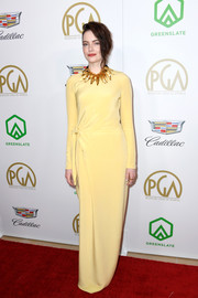 Emma Stone's yellow Louis Vuitton column dress at the 2019 Producers Guild Awards looked so elegant in its simplicity.