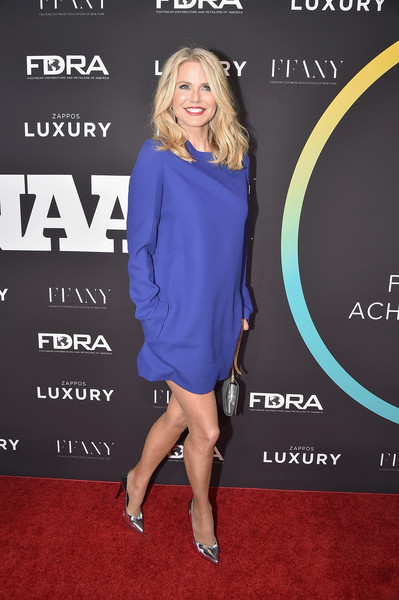 Christie Brinkley opted for a simple blue shift dress when she attended the FN Achievement Awards.