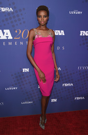 Maria Borges was sweet and feminine in a pink Badgley Mischka cocktail dress with a sheer, floral-embroidered yoke at the 2017 FN Achievement Awards.
