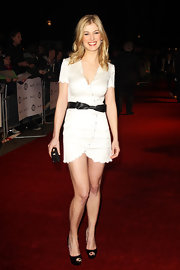 Rosamund donned a white scallop wrap dress to the London Film Critics Awards.