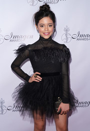 Jenna Ortega paired a beaded clutch with a black tutu dress for the Imagen Awards.