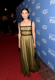 Hong Chau looked sweet and chic in a dotted yellow and black gown by Dior at the Santa Barbara International Film Festival.