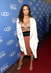 Dania Ramirez pulled her look together with a pair of tan ankle-strap sandals.