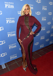 Mary J. Blige finished off her red carpet attire with a pair of silver cutout pumps.