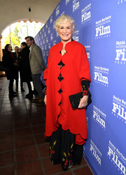 Glenn Close looked vibrant and chic in a scalloped red coat by Valentino at the 2019 Santa Barbara International Film Festival.