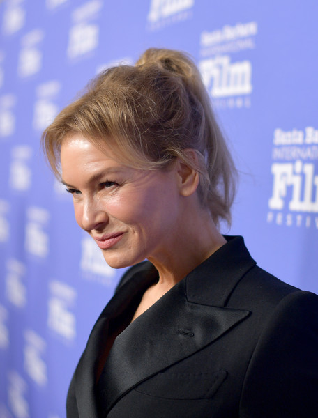 Renee Zellweger opted for a messy-chic ponytail when she attended the 2020 Santa Barbara International Film Festival.