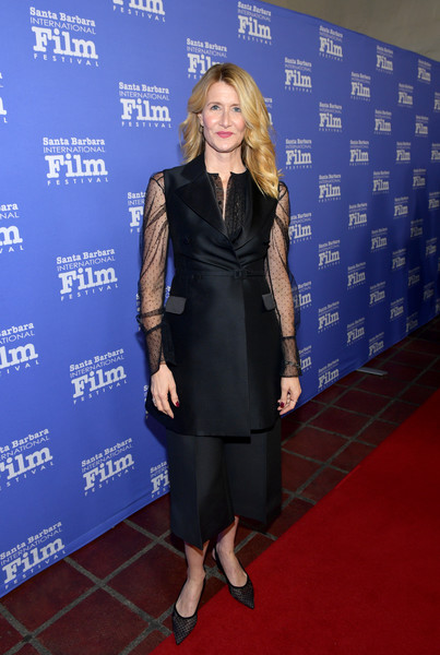 Laura Dern complemented her suit with dotted black slingbacks.