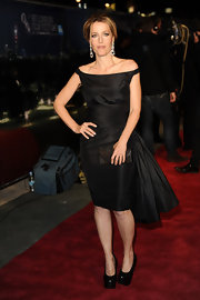 Gillian Anderson was ultra chic on the red carpet at the '360' premiere in black platform pumps.
