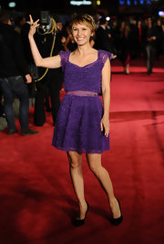 Dinara Drukarova looked sweet in a frothy purple cocktail dress for the London premiere of '360.'