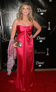 Morgan Fairchild stepped up the glam in a silky red strapless gown during the Gracie Awards Gala.
