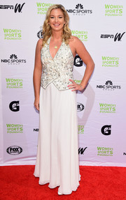 Coco Vandeweghe sported a monochrome halter top at the Salute to Women in Sports event.