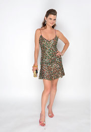 Heather Tom struck a pose in a sequined mini dress at the Daytime Emmy Awards.