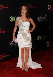 Susan Lucci stepped out at the Daytime Emmy Awards in a white cocktail dress with a fishtail train.