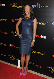 Aisha Tryler worked it in a skintight blue leather dress during the Gracie Awards.