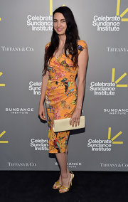 Shiva Rose chose a colorful tropical print frock for the Celebrate Sundance Institute Benefit.