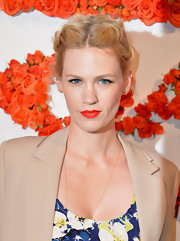 January Jones' pout had the perfect pop with a vibrant red lip, with just a slight orange undertone.