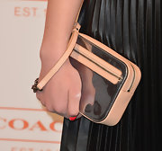 Hailee Steinfeld paired a metallic silver and nude clutch with her black-and-white evening look.