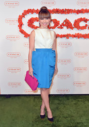 Sophia Bush opted for a classic structured look with this cream and blue frock, featuring a backless top and structured skirt.