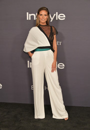 Heidi Klum looked cool and modern in an asymmetrical jumpsuit by Vionnet at the 2017 InStyle Awards.